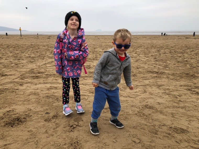 A few hours in Weston-super-Mare - my kids on the beach laughing and smiling