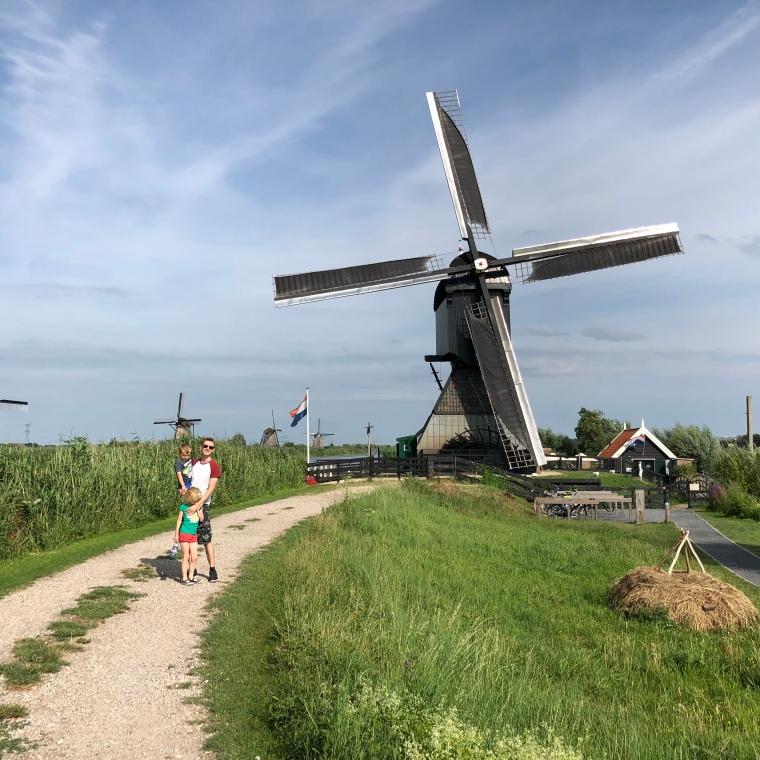 Europe family road trip day 1 - England to Netherlands / UNESCO World Heritage Kinderdijk / Camping Vliegenbos