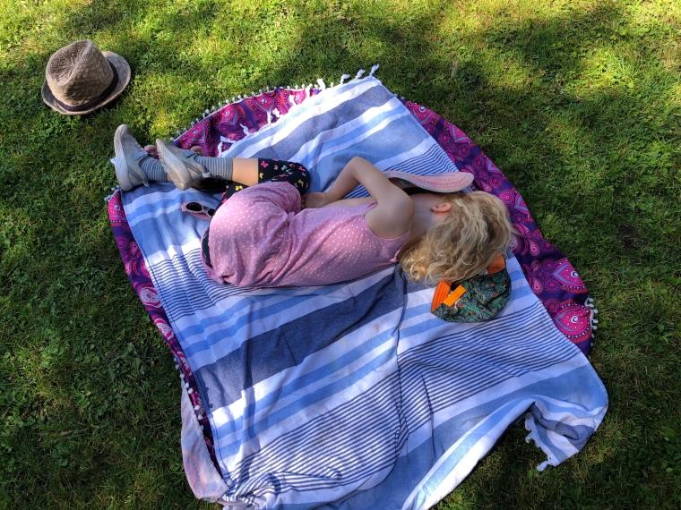 Skenfrith Castle Wales with kids - Bella feels poorly
