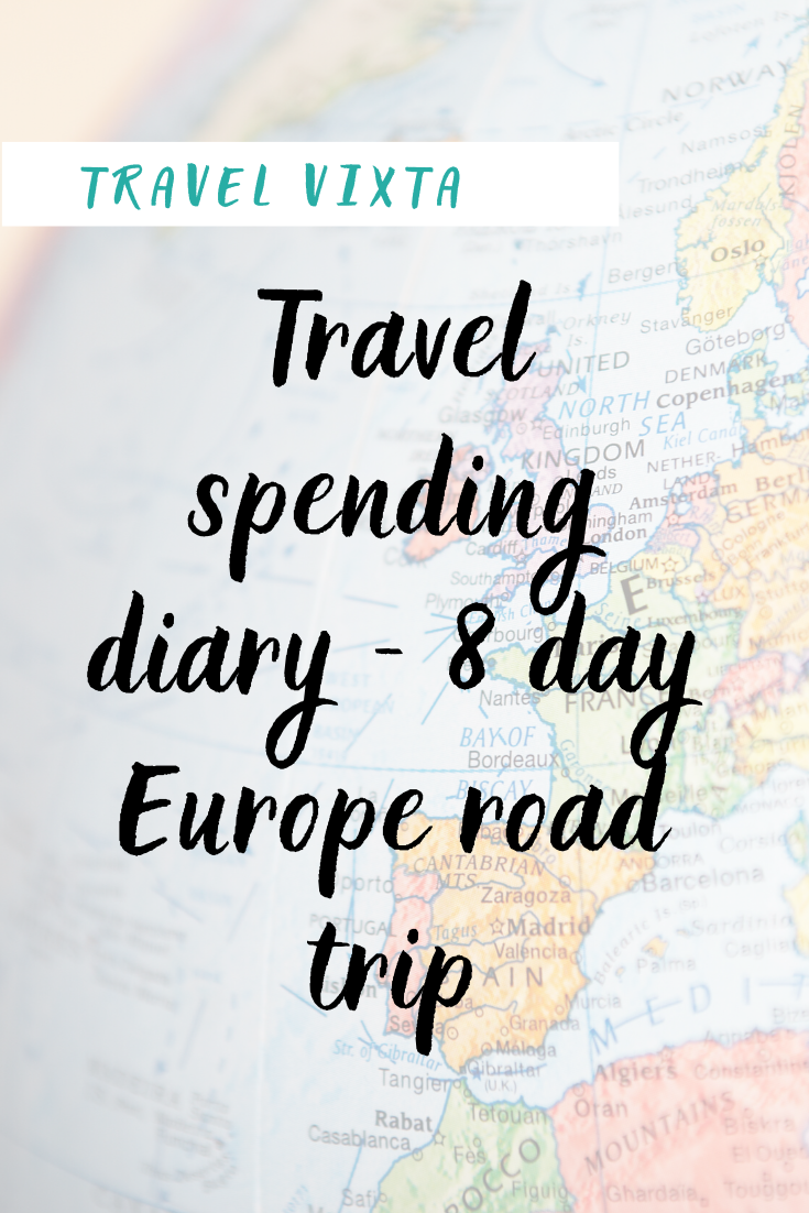 Travel spending diary - 8 day Europe road trip
