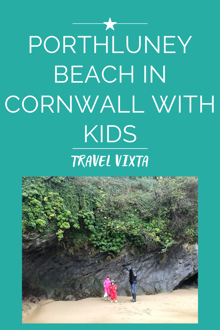 Porthluney beach in Cornwall with kids