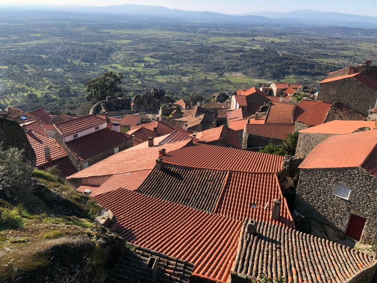 Beautiful terracotta rooftops Monsanto mountain Monsanto rock village + castle -  great instagram spots castelo branco portugal