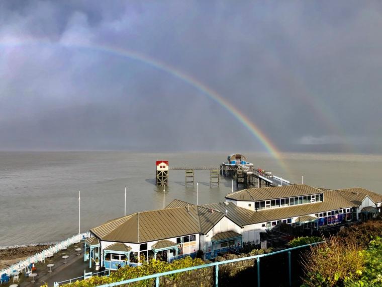 double rainbow Mumbles pier