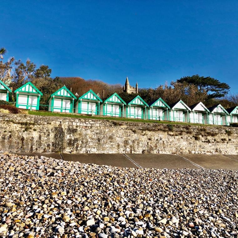 Beach Huts Langland Bay Mumbles Gower Wales