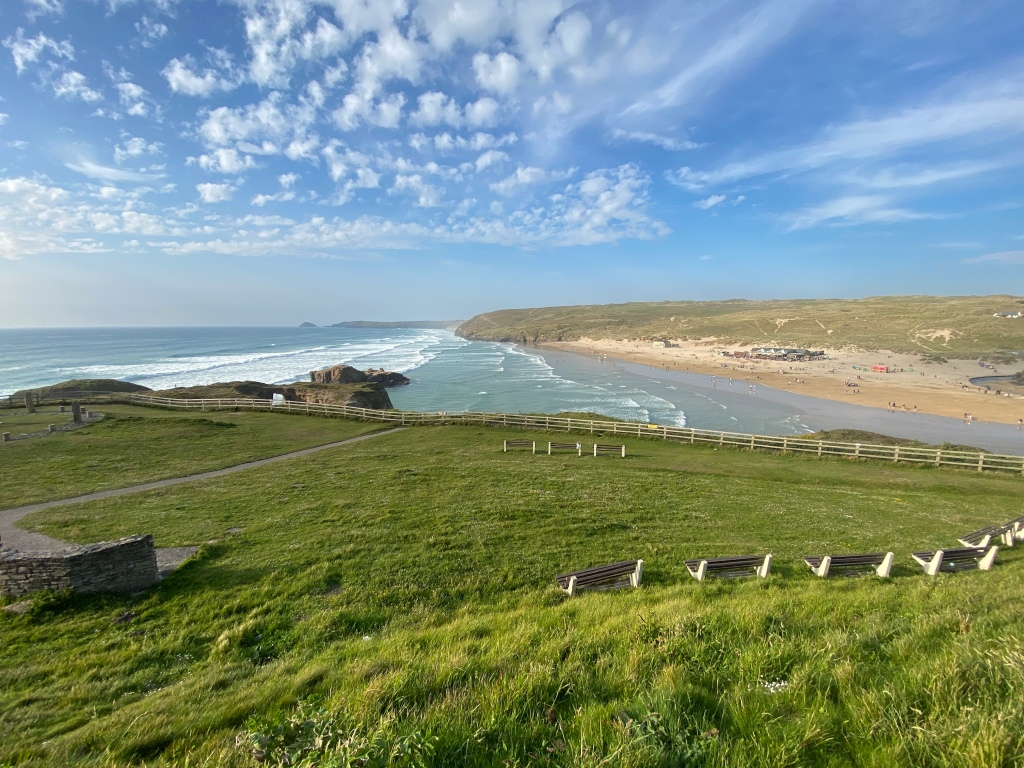 Hilltop view of Perranporth beach in Cornwall