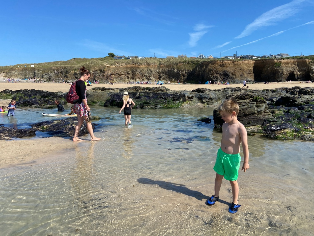 Rock pools at The Towans beach in Cornwall