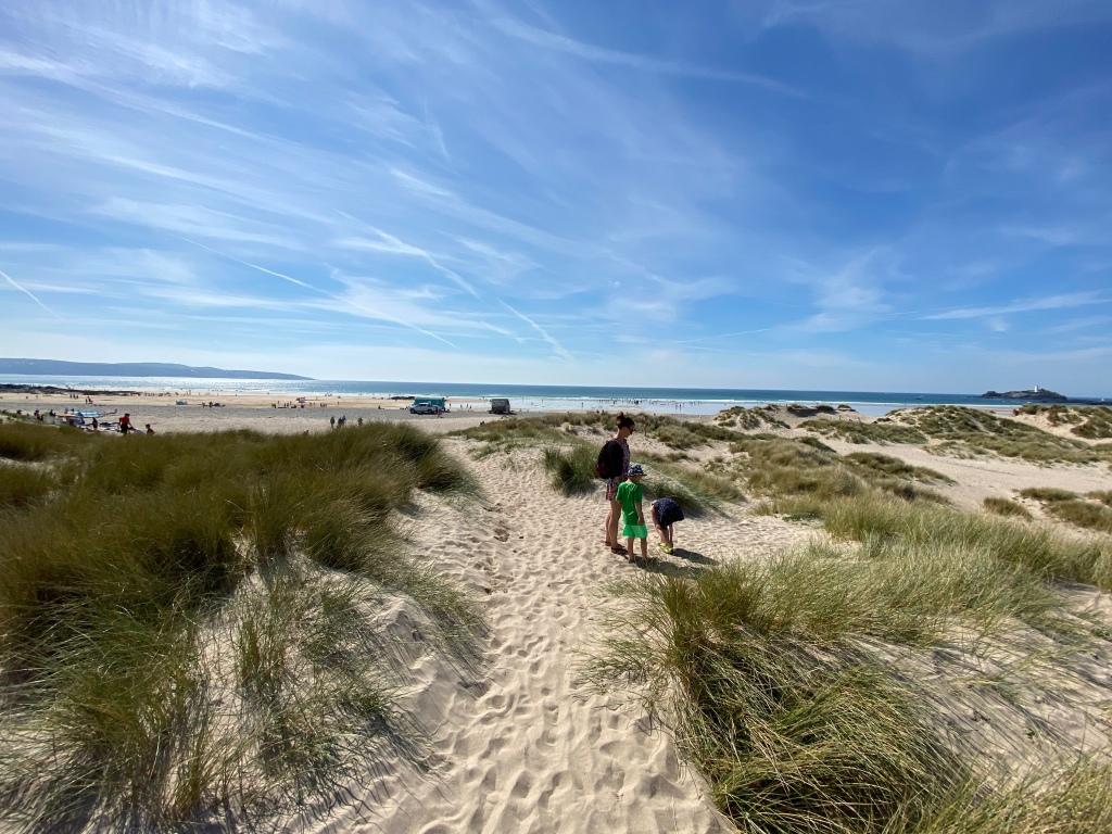 Sand dunes The Towans beach in Cornwall
