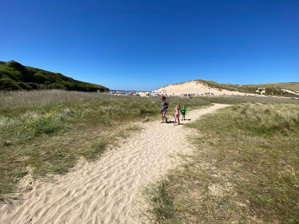walking Hollywell beach near newquay cornwall