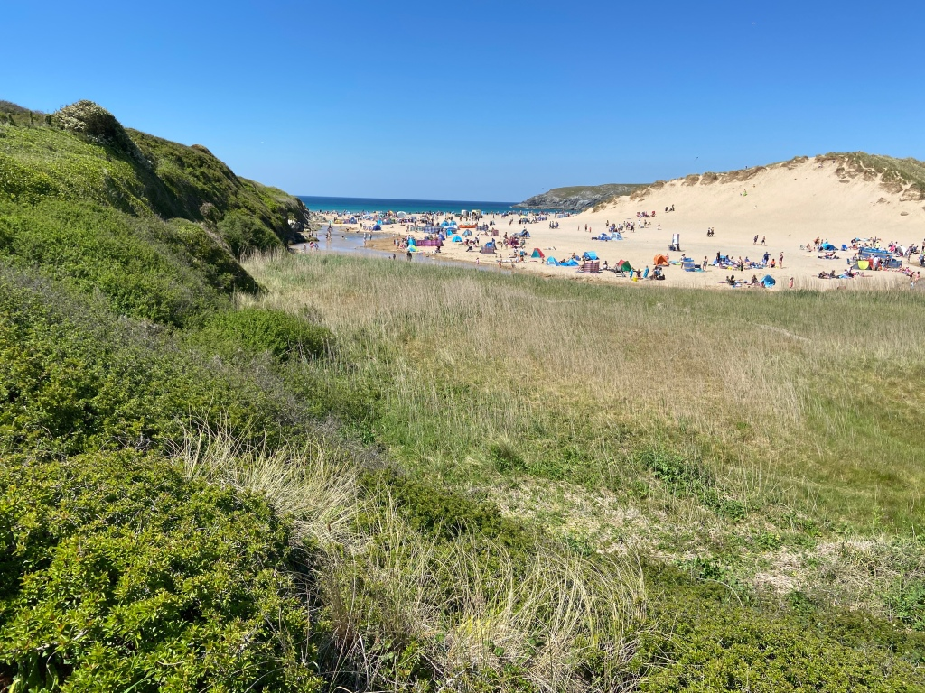 Hollywell beach near newquay cornwall