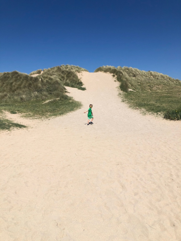 sand dunes on Hollywell beach near newquay cornwall