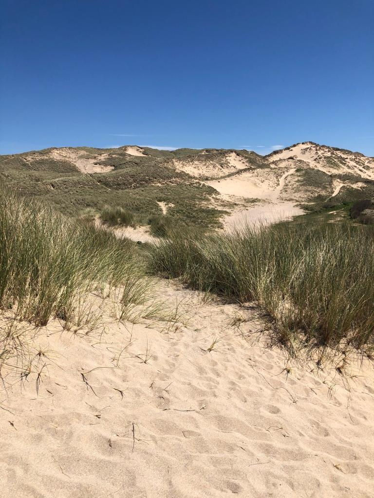 sand dune mountains Hollywell beach near newquay cornwall