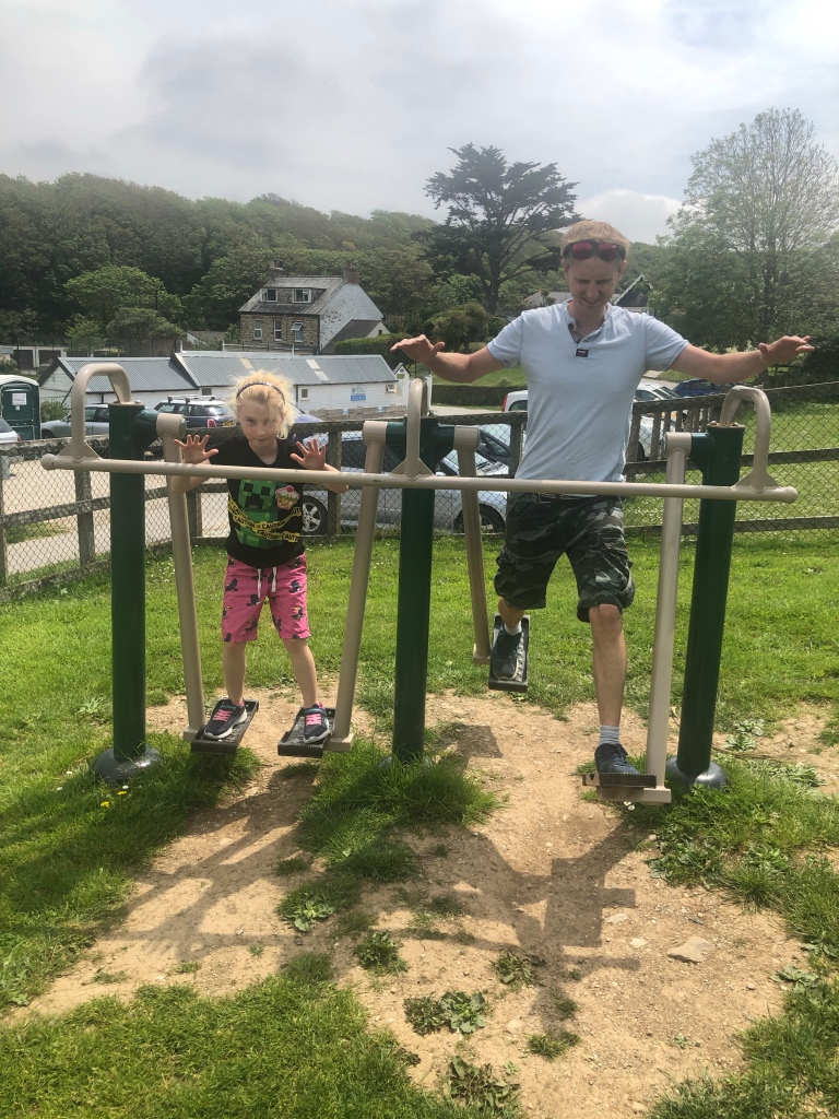 Exercise equipment in a play park in Perranporth in Cornwall