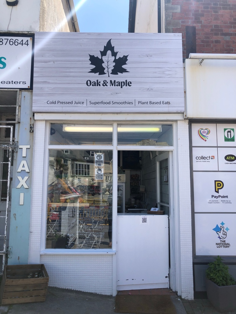 oak and maple juice smoothies plant based eats newquay cornwall
