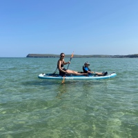 Trying out the SUP-YAK at Harbour Cove in Cornwall